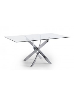 Mesa de comedor rectángular con tapa de cristal templado y base de acero cromado.