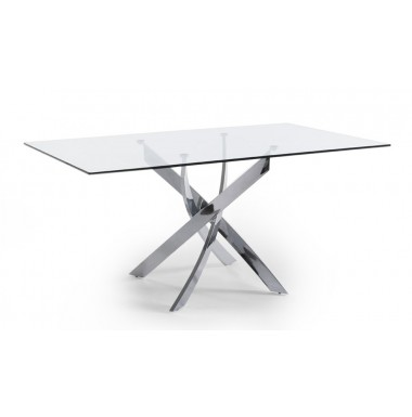 Mesa de comedor rect ngular con tapa de cristal templado y for Mesas comedor cristal y acero