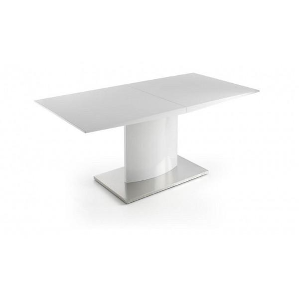 Mesa de comedor rect ngular extensible lacada en blanco for Mesa comedor rectangular extensible