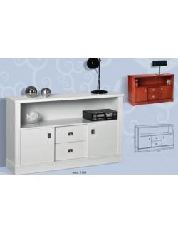Mesa de televisión con dos puertas correderas y dos cajones.