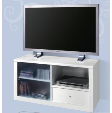 Mesa de televisión con una puerta de cristal y un cajón.