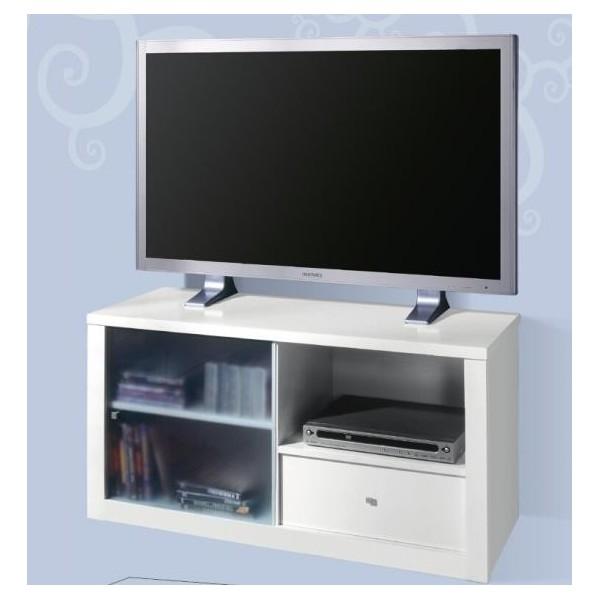 Mesa de televisi n con una puerta de cristal y un caj n - Mesa de television ...