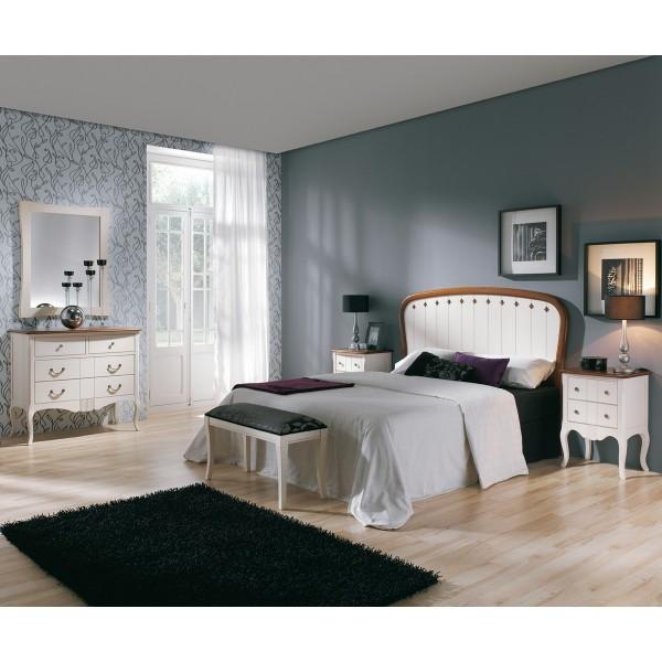 Cabecero curvado en madera de haya maciza con rombos y for Dormitorio moderno de madera maciza