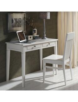 Mesa escritorio con dos cajones en madera de haya maciza.