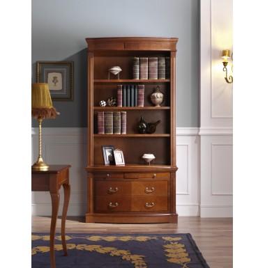 Librería clásica con bajo con tres cajones y detalles de marquetería.