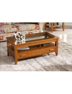 Mesa de centro elevable de madera de cerezo con tapa de cristal y un cajón.