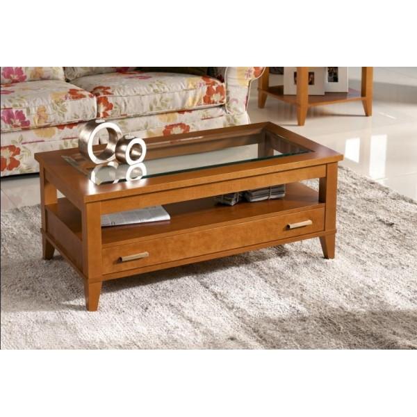 Mesa de centro elevable de madera de cerezo con tapa de for Mesas con tapa de cristal
