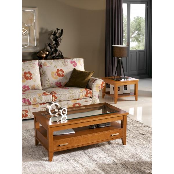Mesa de centro elevable de madera de cerezo con tapa de - Mesa centro madera y cristal ...