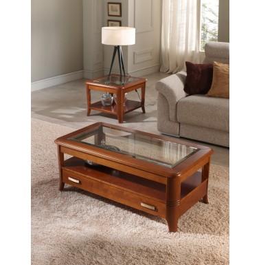 Mesa de centro de madera de cerezo con mecanismo elevable y un cajón.
