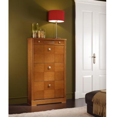 Zapatero de madera de cerezo con puertas abatibles y caj n for Zapatero color madera