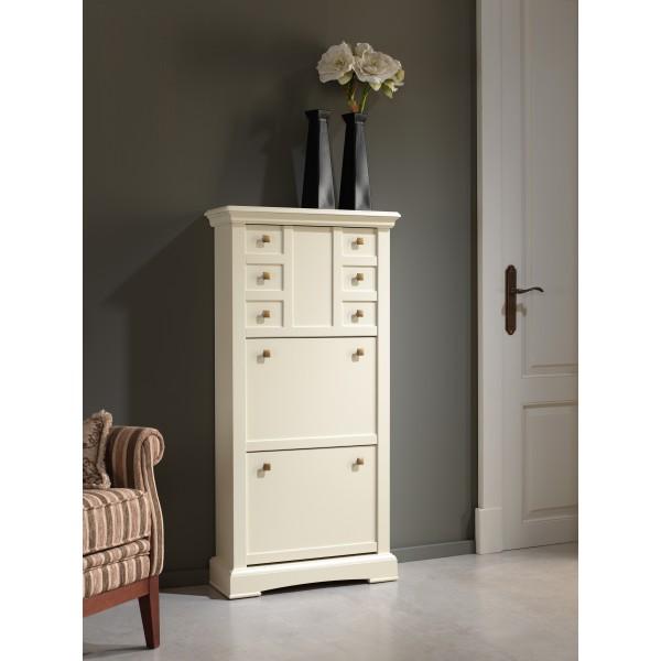 Zapatero de cerezo lacado en color blanco roto con tres - Muebles zapateros estrechos ...