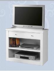 Mesa de televisión con un cajón y un estante.