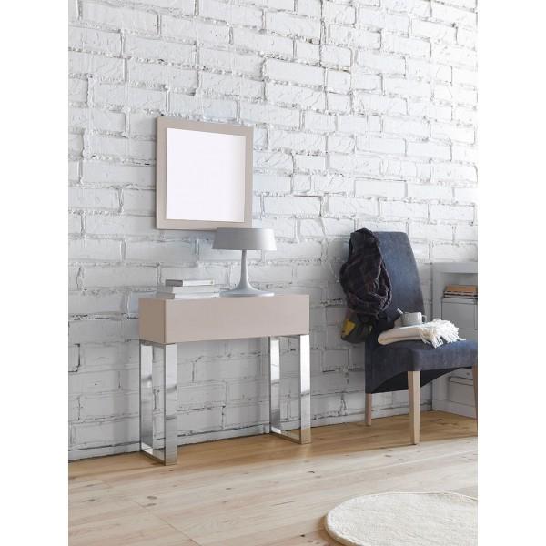 Espejo con marco en madera lacada for Espejos con marco de madera blanco