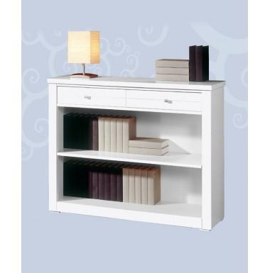 Mueble librero bajo con un cajón.