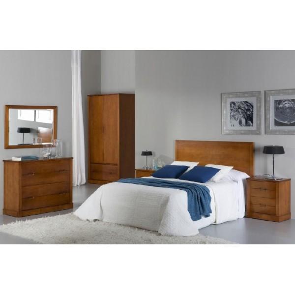 Dormitorio cerezo con cabecero para cama de 150 cm dos mesillas c moda y espejo - Cabecero y mesillas ...