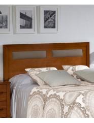 Cabecero de madera con detalle de polipiel para cama de matrimonio o individual.