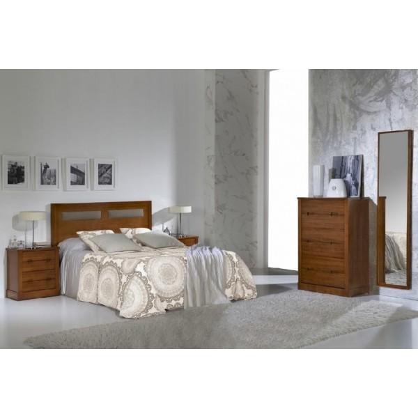 Cabecero de madera con detalle de polipiel para cama de for Dormitorio cama 105