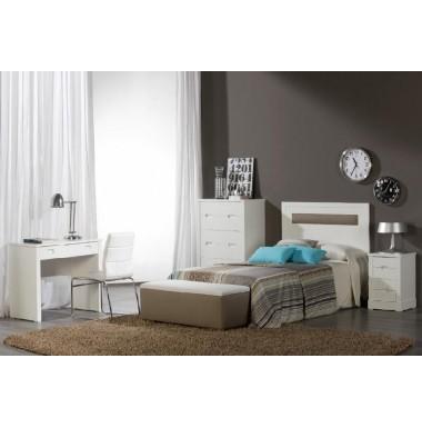 Dormitorio juvenil lacado en blanco con cabecero tapizado for Dormitorio cabecero blanco