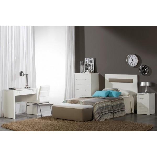 Dormitorio juvenil lacado en blanco con cabecero tapizado - Dormitorios con cabeceros tapizados ...