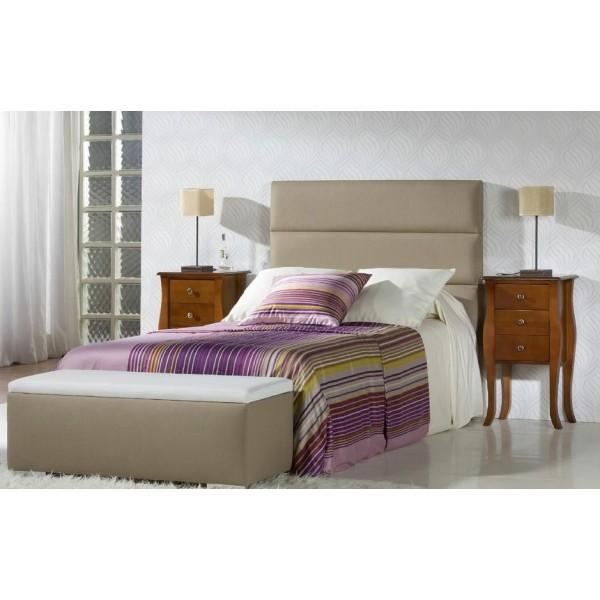 Dormitorio de matrimonio con cabecero tapizado en piel sint tica y dos mesillas - Cabeceros de cama tapizados en piel ...