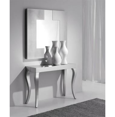 Consola-mesa de comedor clásica de madera de haya extensible.
