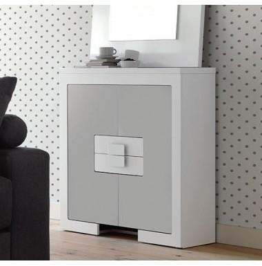 Mueble taquill n moderno lacado en blanco y plata - Mueble lacado blanco ...