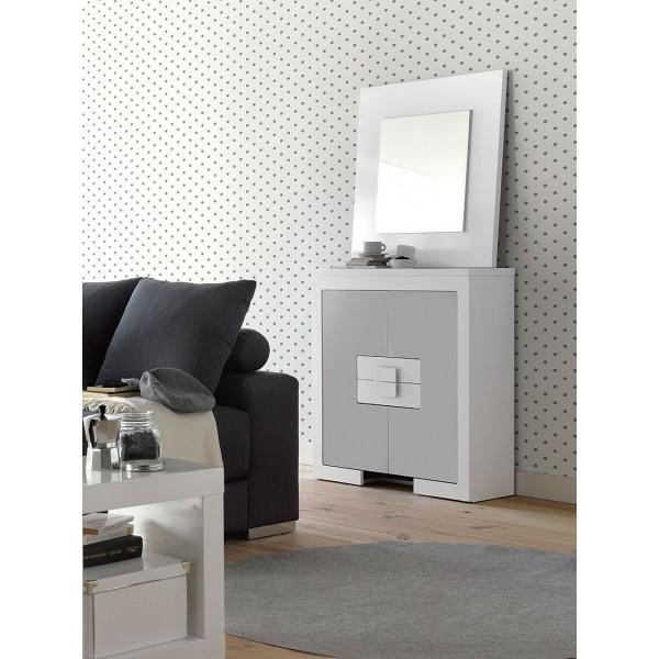 Mueble taquill n moderno lacado en blanco y plata for Mueble auxiliar moderno
